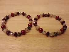 Handcrafted beaded stretch bracelet ruby red and tan