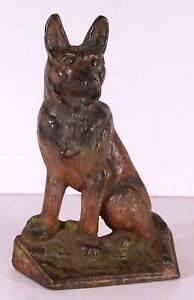 1920s CAST IRON GERMAN SHEPHERD DOG DOORSTOP IN ORIGINAL PAINT By HUBLEY Mfg