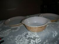 """Set of 2 Fire King Peach Lustre Luster 9"""" Pie Plates and 1 qt. casserole dish"""