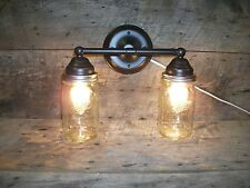 Mason Jar Light 2-Light Rubbed Bronze Vanity Light with Authentic Ball Mason Jar