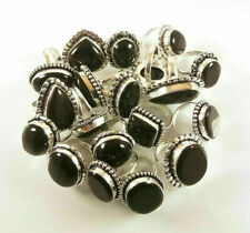 Black Onyx Gemstone 5pcs Ring Wholesale Lot 925 Sterling Silver Overlay WHR-1