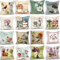 18'' New Retro Design Cushion Cover Pillow Case Red Bird Rose Flower Home Decor
