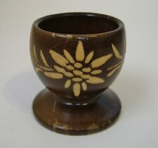 Carved Wood Egg Cup Floral Vintage Swiss Brown Footed Collectible Flowers Vines