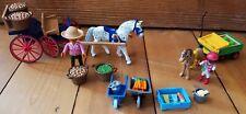 Playmobil Marktstand Bauernhof Sammlung mit Pferde Karren Gemüsestand Milch