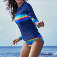 Women Surf Long Sleeve Two-Piece Beach Swimming Suit Swimsuit Surfing Swimwear