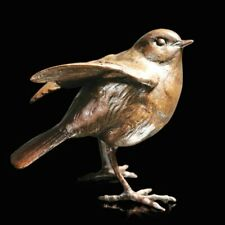 More details for solid bronze bird /robin standing (1026) by michael simpson sculpture reduced