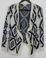 ARIZONA Medium Women's Sweater Long Sleeve Open Front Cardigan Navy Blue & Cream