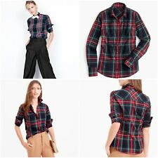 NWT$88 J Crew Women's Slim Stretch Shirt Blouse in Stewart Tartan Plaid size 4