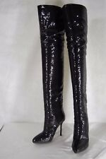 SUPER GORGEOUS !!! SERGIO ROSSI  Sequin  OVER THE KNEE BOOTS EU 35.5 US 5.5