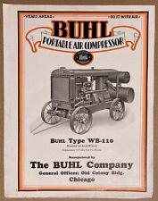 Buhl Portable Air Compressor Sales Brochure circa 1927 Excellent Rarity!