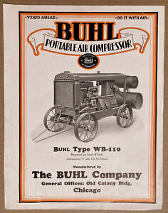 BUHL Portable Air Compressor Sales Brochure circa 1927 BEAUTIFUL RARITY!