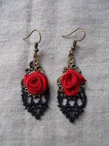 Black Lace & Red Rose Earrings.Bronze Colour.Steampunk Gothic Victorian