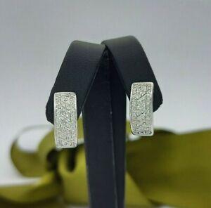 Ladies Earrings 9ct (375,9K) White Gold Diamond (0.60ct) Huggie Hoop Earrings