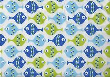 "Hilco ""KID'S Fish"", bianco-verde-blu, hochw. BW-Popeline, 150 cm br, MW, € 12,00/m"