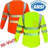 Hi Vis T Shirt High Visibility ANSI Class 3 Reflective Long Sleeve Safety Shirt