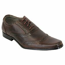 Mens Brown Stylish Smart Formal Lace Up Office Dress Shoes Sizes UK 7-11 GIFT