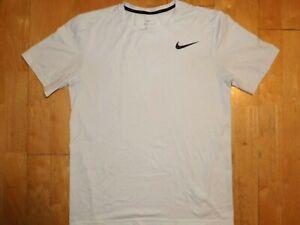 NIKE Mens DRI-FIT White Athletic Workout Medium M MD Short Sleeve Shirt T-Shirt