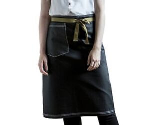 Sharp Chef Outfitter Wax Bar Apron One Size Unisex Black Pocket Cotton