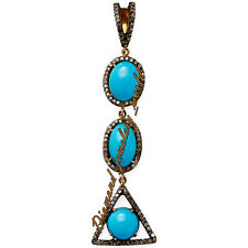 Vintage Estate 2.90cts Rose Cut Diamond Turquoise Studded Silver Jewelry Pendant