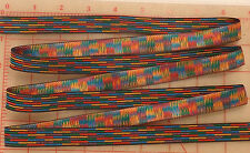 "5 yards vintage Swiss jacquard ribbon blue red yellow multi color 11/16"" 17mm"