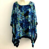Avenue womens 18 20 tunic top sheer kimono sleeve floral blue stretch tank lined
