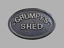 SILVER GRUMPY'S SHED - HOUSE DOOR PLAQUE WALL SIGN GARDEN - BLACK - NEW