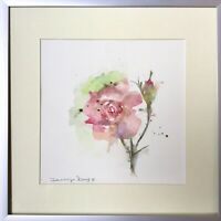 """Original Framed Abstract Art Watercolour Pink Rose Flower Painting Signed 12x12"""""""
