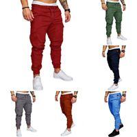 Straight Slim Leg Men's Pants Jogger Urban Casual Pencil New  Trousers Fit Cargo