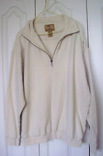Mens Rib Knit Jamaica Jaxx  Cream Zip 1/4 Silk PullOver  Sweater Sweatshirt  XL