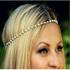 Hippie Retro Pearl Flower headband head piece chain elastic hair band (36)