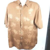 Pierre Cardin Brown Short Sleeve Shirt 100% Rayon Vintage Palm Tree Size XL.