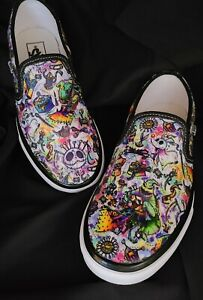 VANS Nightmare Before Christmas Shoes Hand Detailed Slip On Women's LIMITED