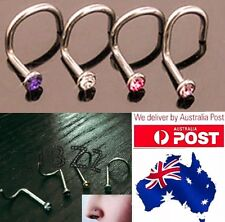 4x Nose Ring Stud Hook Twist Bar Surgical Steel Piercing Jewellery Rhinestone