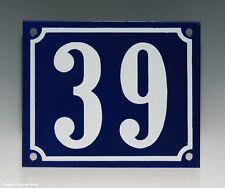 EMAILLE, EMAIL-HAUSNUMMER 39 in BLAU/WEISS um 1965