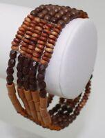 "Vintage Bracelet 7"" Elastic 5 Strand w/ Wooden Tone Beads"