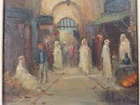 Huile / Carton, Impressionniste, Orientaliste, Vers 1900/30. Le Souk. Signée