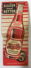 Vintage 1940s Early Pepsi Cola Advertising Double Dot Cardboard Match Pack Broke