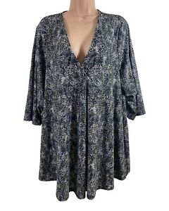 EVANS black & brown animal leopard print stretch jersey blouse PLUS SIZE 26 - 28