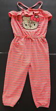 HELLO KITTY KIDS GIRLS ONE PIECE JUMPSUIT ROMPER BODYSUIT SIZE 6X CORAL STRIPED