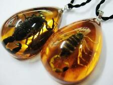 14 pendant Vintage real gold black scorpion yellow color drop jewelry