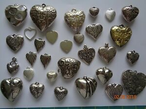 PACK OF 30 ASSORTED SILVER HEART PENDANTS IN ASS SIZES - BY TOTALLY BEADS - NEW