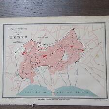 CARTE GEOGRAPHIQUE ANCIENNE 1875 PLAN DE VILLE TUNIS TUNISIE