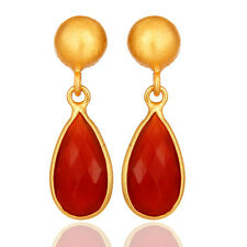 18k Gold Plated Gemstone Jewelry Silver Red Onyx Dangle Fashion Earrings