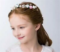 Girl Gold Leaf pink flower Wedding Women Party Hair Headband Crown Tiara Prop