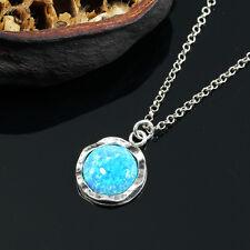 Dainty Blue Fire Opal Pendant 925 Sterling Silver Necklace Stera Jewlery Y904