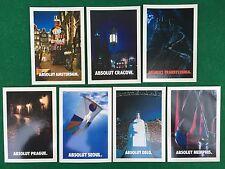 "Lotto 7 Cartoline Promocard ABSOLUT VODKA ""CITY"" Amsterdam Prague Seoul ecc"