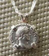 Roman Emperor Hadrian Authentic Ancient Silver Coin Charm 925 Sterling Necklace