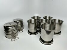 Lot of 6 - Large 10oz Stainless Steel Portable Collapsible Cups - With Logo.
