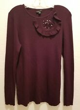 Ann Taylor L sweater long sleeve wool silk cashmere blend purple red brown