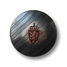 5 matt eisenfb. gestreifte Metall Knöpfe mit Wappen, Löwe & Krone (5515er-21mm)